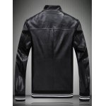 cheap Zipped Applique Embellished Faux Leather Jacket