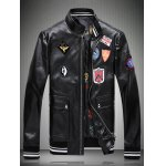 Zipped Applique Embellished Faux Leather Jacket
