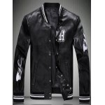 Embroidered Striped Rib Snap Button Up Faux Leather Jacket