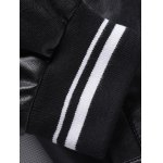Embroidered Striped Rib Snap Button Up Faux Leather Jacket for sale