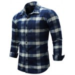 cheap Color Block Checked Turn-Down Collar Long Sleeve Shirt