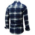 Color Block Checked Turn-Down Collar Long Sleeve Shirt deal