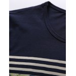 Crew Neck Stripe and Floral Print Short Sleeve T-Shirt deal