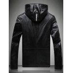 cheap Patch Design Multi-Pocket Zippered Hooded Faux Leather Jacket