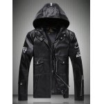 Patch Design Multi-Pocket Zippered Hooded Faux Leather Jacket