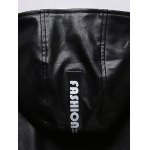 Patch Design Multi-Pocket Zippered Hooded Faux Leather Jacket deal