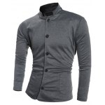 Single-Breasted Stand Collar Pockets Design Jacket