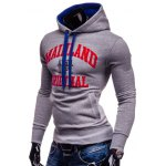 cheap Mainland Printed Color Block Pullover Hoodie