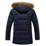 cheap Faux Fur Collar Hooded Lengthen Zip-Up Quilted Coat