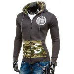 cheap Zip-Up Logo Printed Camouflage Hoodie