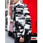 Stand Collar Zippered Texture Padded Jacket photo