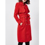 Wool Blend Double-Breasted Long Trench Coat with Belt   deal