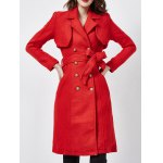 cheap Wool Blend Double-Breasted Long Trench Coatwith Belt