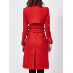 Wool Blend Double-Breasted Long Trench Coatwith Belt for sale