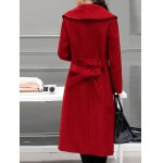 Wool Blend Maxi Long Wrap Shawl Collar Belted Coat for sale