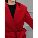 Wool Blend Maxi Long Wrap Shawl Collar Belted Coat photo