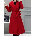 cheap Wool Blend Shawl Collar Belted Coat