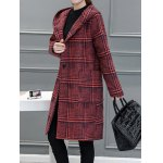 cheap Houndstooth Hooded Wool Blend Coat