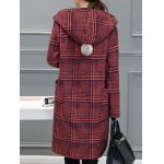 Houndstooth Hooded Wool Blend Coat deal
