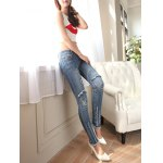 cheap Ripped Distressed Skull Jeans