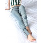 Zipper Spliced Destroyed Fit Jeans deal