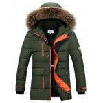 Buy Furry Hood Color Block Zip-Up Padded Coat 2XL GREEN