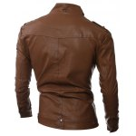 cheap Epaulet Embellished Stand Collar Pockets Design PU-Leather Jacket