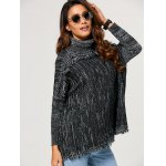 Loose Turtleneck Heathered Fringed Sweater for sale