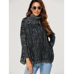 cheap Loose Turtleneck Heathered Fringed Sweater