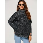 Loose Turtleneck Heathered Fringed Sweater deal