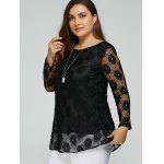 cheap Plus Size Lace Tunic Top