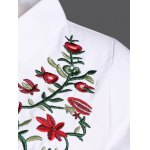Stand Collar Plant Embroidery Elastic Waist Blouse deal