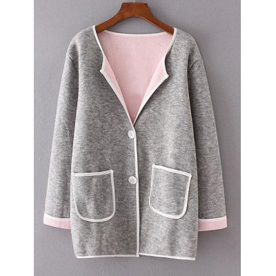 Twin Pockets Patchwork Sweater Coat