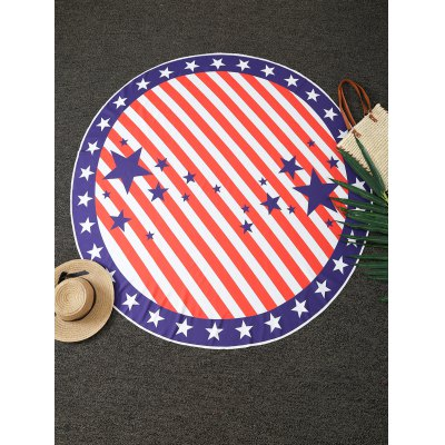 Stars and Stripes Print Round Blanket Throw