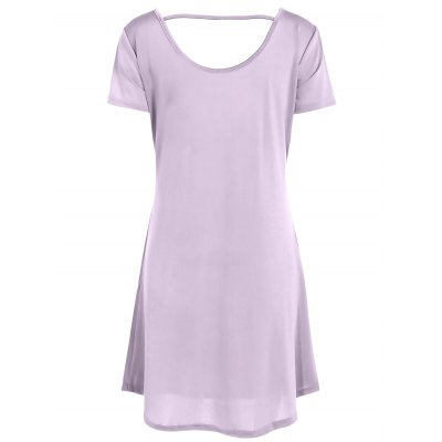 Casual Hollow Out Short Sleeve Scoop Neck Women's Dress