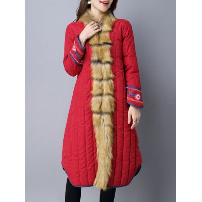 Faux Fur Chinese Button Coat