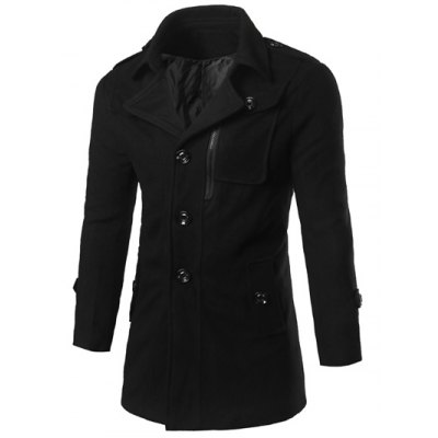 Epaulet Design Zippered Coat