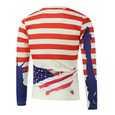 American Flag Freedom Printed Long Sleeve Sweatshirt