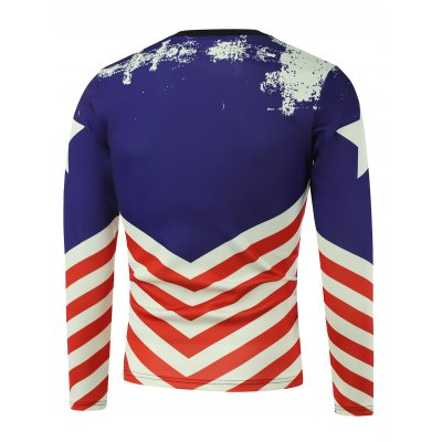 American Flag Pentagram Printed Long Sleeve Sweatshirt
