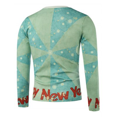 Crew Neck Santa Printed Color Block Splicing Long Sleeve Sweatshirt