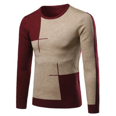 Color Matching Long Sleeve Crew Neck Sweater