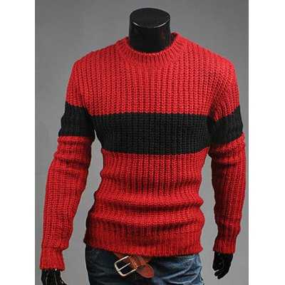 Crew Neck Color Matching Ribbed Sweater