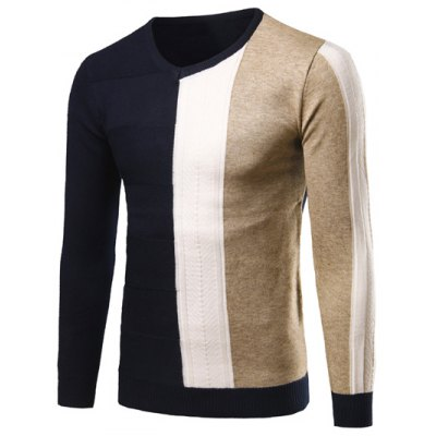 V-Neck Color Matching Pullover Sweater