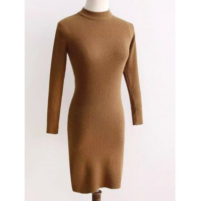 Long Sleeve Fit Knitted Pencil Dress