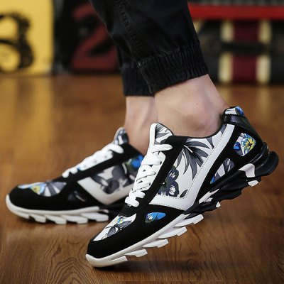 Floral Print Suede Spliced Athletic Shoes