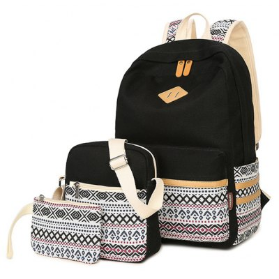 Canvas Geometric Pattern Color Block Backpack
