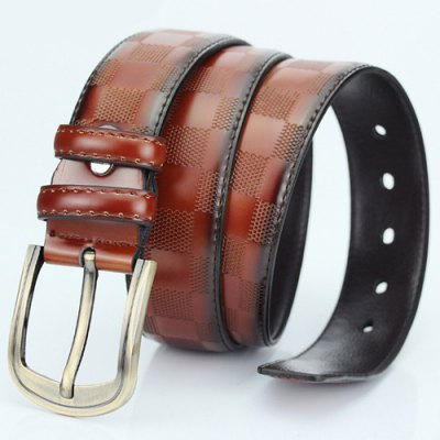 Casual Pin Buckle PU Square Embossed Belt