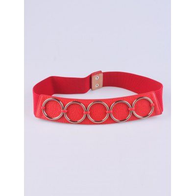 Tiered Matel Ring Buckle Stretch Belt