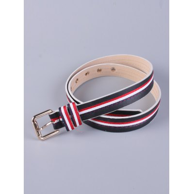 Multi Color Stripy Pin Buckle Belt