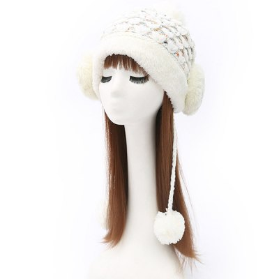 Smile Face Tiered Rhinestone Beanie
